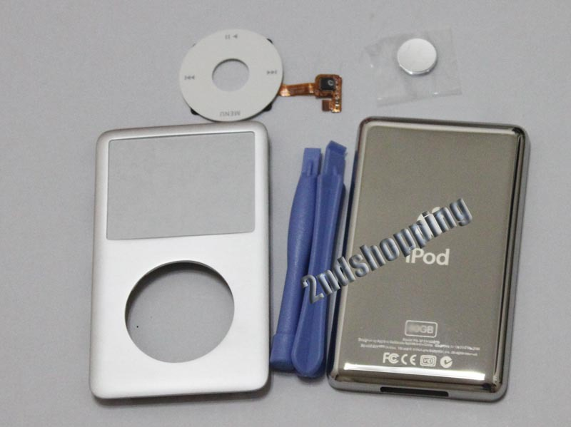 NEW ARRIVAL Wholesale 5 sets FREE SHIPPING Silver For iPod 6th Classic 80GB Full Housing Cover Case+Click Wheel(China (Mainland))