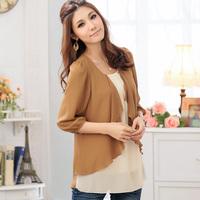 Free Shipping  2014 Women plus size   faux two piece chiffon shirts,Fashion Loose blouse XL XXL XXXL XXXXL