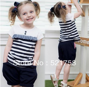 EMS FREESHIPPING 10sets/lot 2013 New children clothing set cute girl striped suit (T-shirt+pants) summer kid garment wholesale