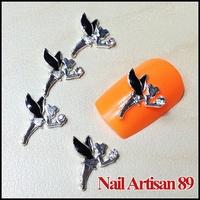 20psc/lot Charm Black Wing Fairy Little Angel Clear Crystal 3D Alloy Acrylic Nail Art Tips DIY Phone Beauty Decoration #B206