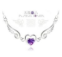 2014 Top Fashion Collares Pendant Necklace Jewelry Free Shipping Angel Lover 925 Amethyst Necklace Gift Romantic Woman