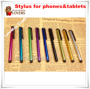 Metal Capacitive Screen Stylus Pen Pens Touch Pen 10 Colors For IPAD IPHONE Tablet PC Cellphone 100pcs Free Shipping