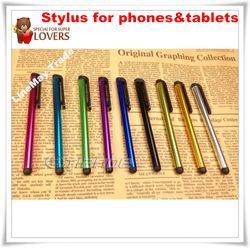 Metal Capacitive Screen Stylus Pen Pens Touch Pen 10 Colors For IPAD IPHONE Tablet PC Cellphone 100pcs Free Shipping(China (Mainland))