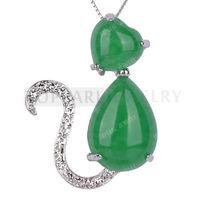 Free Shipping! 5pcs Green Malaysian Jade Cat Shape Pendant MJP77