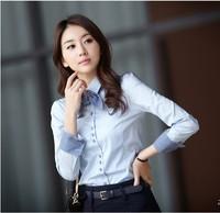 women OL puff shirt  Slim female long-sleeved waist  office lady shirts free shipping
