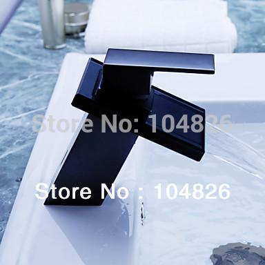 voll schwarzen Wasserfall armatur becken tippen bad eitelkeit waschbecken Küche platz Wasserfall glas wasserhahn mischbatterie