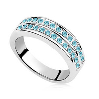 Classic Double Row Austrian Crystal Ring Wedding Jewelry( White Blue Pink Multicolor  Aqua Blue )