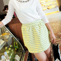 Free Shipping 2013 Whosale  spring drop embroidery peacock dbust short  skirt Many Color