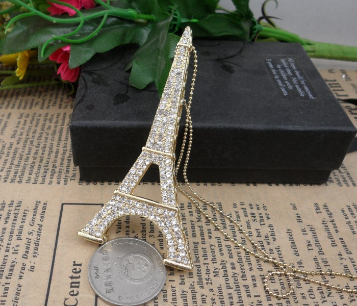 Accessories popular fashion eiffel tower full rhinestone necklace quality fashion h03(China (Mainland))