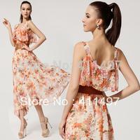 New Arrival 2014 Summer Peplum Strapless Dress, long maxi dress ruffled backless with ruffle neck floral print design celebrity