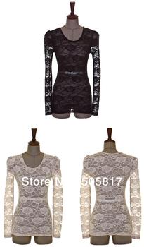 Fashion sexy nightclub Nightwear Slim O-neck long-sleeved roses 100% lace mesh shirt bottoming shirt vest free shipping D84