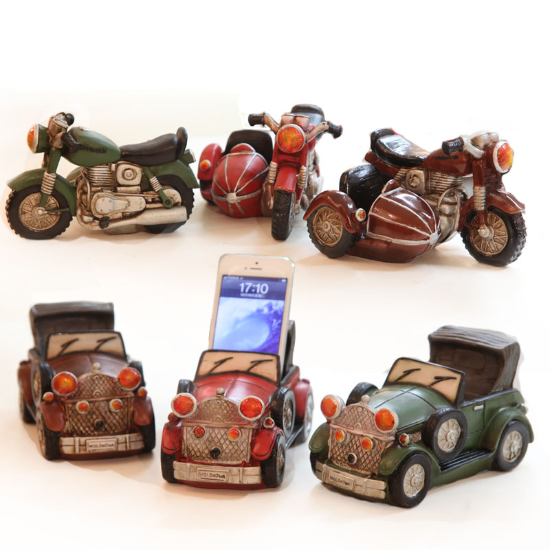 Resin home decoration vintage old fashioned tricycle ragtimes cell phone holder business card seat gift(China (Mainland))