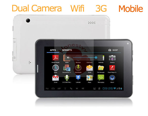 Lowest price Gmail, POP3/SMTP/IMAP4 Phone call Dauble Cameras wifi Youtube Facebook Browser tablet pc with skype/google/msn(China (Mainland))