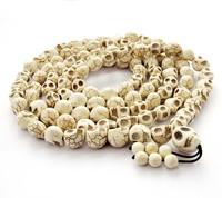 White Turquoise Skull Tibet Buddhist 108 Prayer Beads Mala Necklace