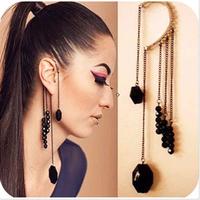 #061 Clip Earrings Vintage Black Gem Beaded No Pierced Tassel Ear Hook Earrings For Women For Women Earring