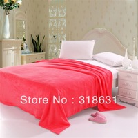 Free Shipping Solid Color Watermelon Red 200gsm Weight Soft Coral Fleece Fabric Home Blanket Single/Twin/Full/Queen [12 Colors]