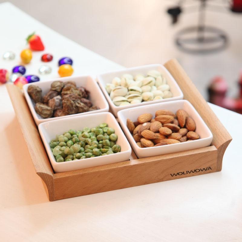 Estilo japonês louça cerâmica prato 4 lado lanche bandeja pallet prato de frutas secas sementes definir especiarias placa(China (Mainland))
