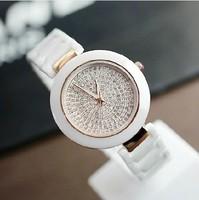 Real Ceramic rhinestone watches  Big Dial Women Watch White Quartz Ceramic Wristwatch with giftbox Freeshipping