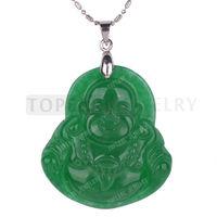 Free Shipping! 3pcs Green Malaysia Jade Laughing Buddha Pendant MJP71