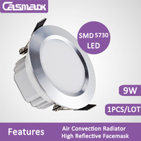 Free shipping 1pcs/lot 5730 SMD led downlight 9w ceiling recessed  High Reflective  facemask 85-265vac
