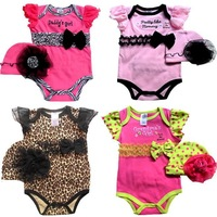 12sets/lot baby girls summer romper baby kids lace bowknot sleeveless bodysuits with lace hat TZ0288