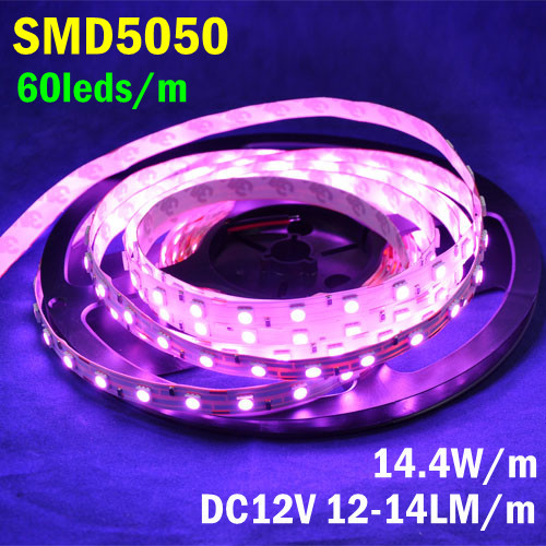 5M/pc 300Leds/pc Non-waterproof DC12V 72W Fantastic Purple Pink Color LED Strip Light SMD5050 For Wedding Party Night Club(China (Mainland))