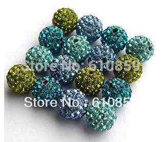 Free Shipping!! (100pcs/lot) 12mm high quality shamballa clay crystal beads(China (Mainland))