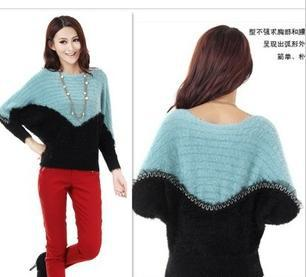han edition 2012 autumn new mohair women sweater coat women sdress batwing aleeve montage knitwear free shipping z56(China (Mainland))
