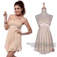 Fashion normic sexy elegant satin banquet patchwork chiffon tube top bridesmaid dress one-piece dress design short dress