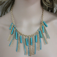 Minimum Order $6 Free Shipping    Gold tassel turquoise chunky bib necklace 2014 new N288