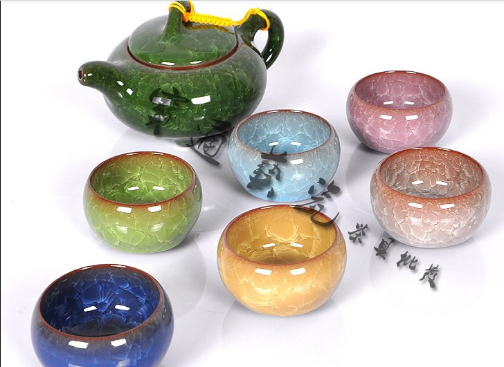 Tea set purple binglie glaze tea set,7 colors, six people use ,tea set kung fu,ceramic teapot,Free gift box(China (Mainland))