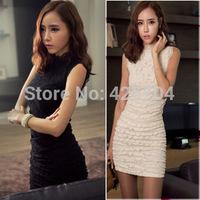 2014 New fashion elegant lace one-piece dress for women party slim hip slim one-piece dress free shipping