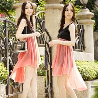 2013 bohemia slim sleeveless vest slim waist chiffon irregular dress dovetail one-piece dress  free shipping