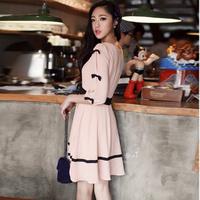 2013 o-neck solid color slim bow cutout three quarter sleeve chiffon dress one-piece dress  free shipping