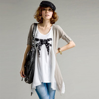 2013 spring medium-long half sleeve short-sleeve faux two piece set loose t-shirt chiffon patchwork women's top personalized