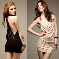 Women's party gorgeous paillette sexy racerback halter-neck slim hip slim dress one-piece dress  free shipping