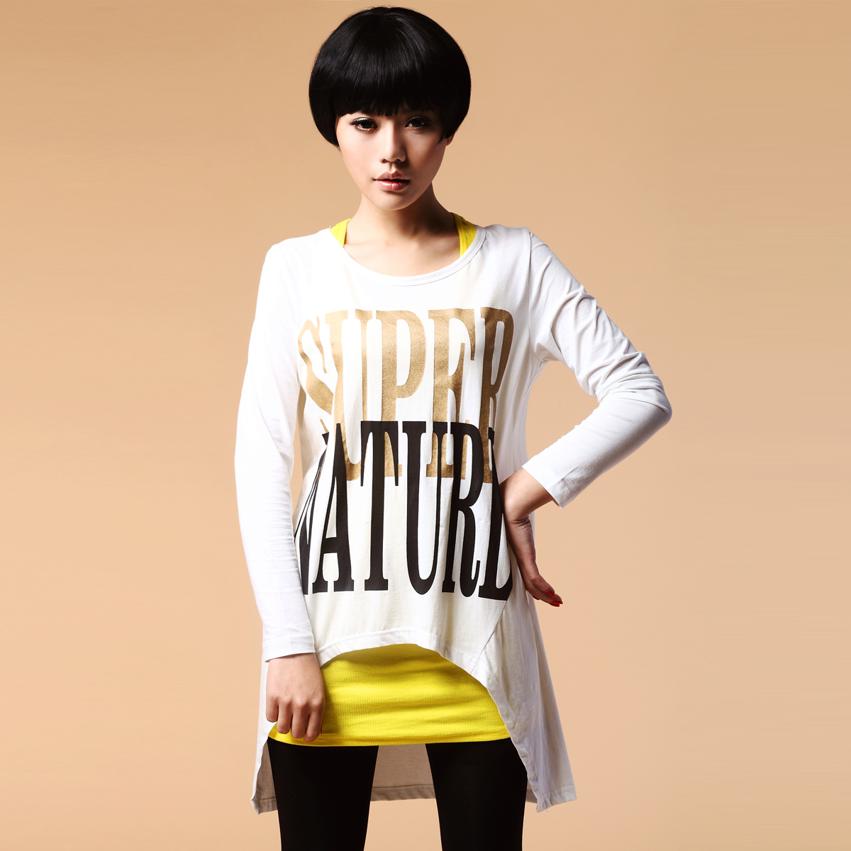 Lovable Secret - tx5022c 2012 spring irregular long design letter knitted t-shirt free shipping(China (Mainland))