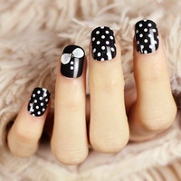 Polka dot small bow tie vintage short design small black and red 2 false nail patch  3d nail art supplies