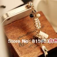 Free Shipping! New Design Pearl Beads Alloy Handbag High Heels Phone Dust Plug Accessory for Women