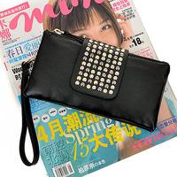 2013 women's wallet long design punk rivet double zipper   free shipping