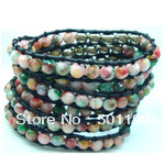 Free Shipping Several Layer Jade & Natual Stone Fashion Charm Leahter Bracelet with Leather Knitting String  with Health Care