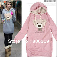 New Hoodie Long Top Pullover Winter Coat Garment Coat Women's Coat Hoodie Cute Bear Black/Pink/Blue  L1551
