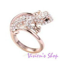 Wholesale 12pcs/Lot Free shipping Personalized Gecko Rings with Rhinestones Couple Rings R003