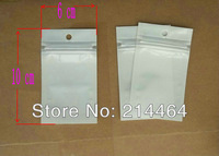 10x6 cm zipper Clear+white retail plastic package bag electronic accessories poly bag gift packing pack bag