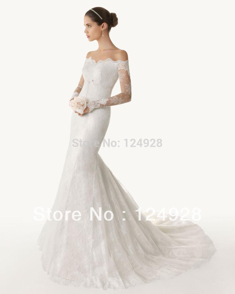 Long Sleeve Wedding Dresses Modern : Modern mermaid lace wedding dress brush train bridal gown