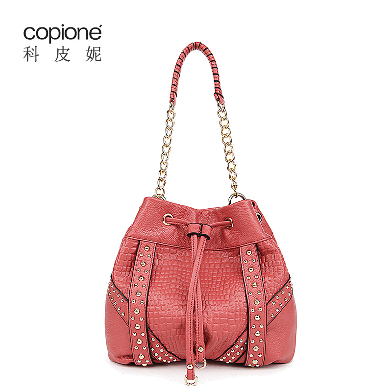 Leather women's handbag all-match chain of packet fashion bucket bag ice cream handbag genuine leather small bags(China (Mainland))