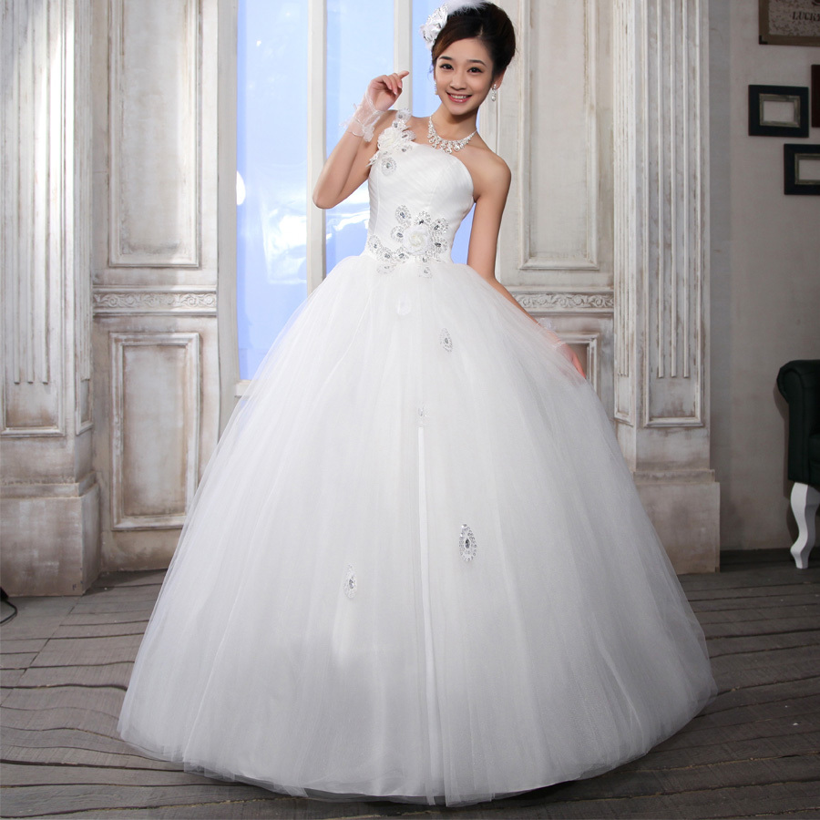 Wedding dress new arrival spring 2012 tube top one shoulder bride plus size wedding dress mm bandage(China (Mainland))