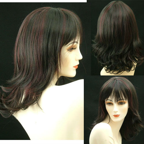Long Wigs Layers Flips Skin Part Deep Burgundy 10pcs/lot(China (Mainland))