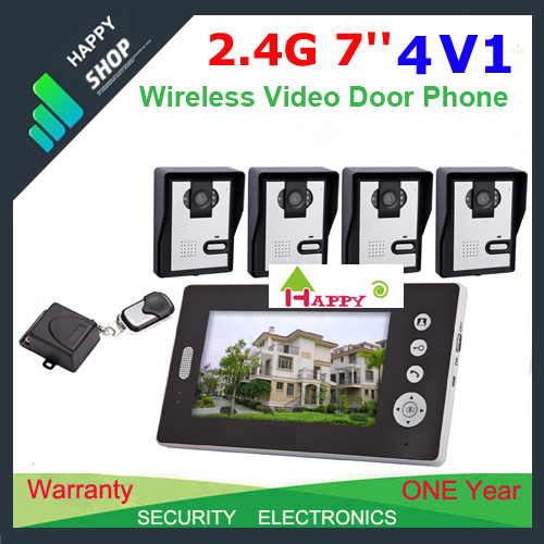 4V1 12.4G Wireless 7inch photo-memory video intercom door phone system with remote control free shipping(China (Mainland))