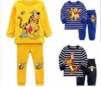6sets/lot Cartoon Tiger/Bear pajamas Bay Boy homewear Soft sleepwear Children long sleeves nightwear